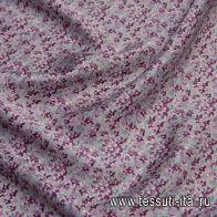 Крепдешин (н) мелкий бордово-салатовый рисунок на серо-розовом - итальянские ткани Тессутидея