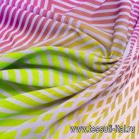 Батист деграде (н) геометрический орнамент на фиолетово-зеленом - итальянские ткани Тессутидея