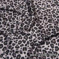 Плательная стрейч (н) черный леопардовый принт на светло-сером - итальянские ткани Тессутидея