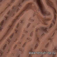 Подкладочная (о) коричневая с надписью Cucci - итальянские ткани Тессутидея арт. 08-1161