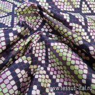 Плащевая (н) черно-розово-салатовый змеиный принт - итальянские ткани Тессутидея