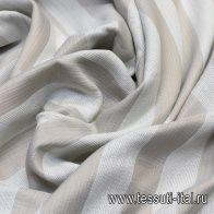 Шанель с люрексом (н) бело-бронзовая полоска - итальянские ткани Тессутидея