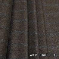 Костюмная твид (н) коричнево-зелено-голубая клетка - итальянские ткани Тессутидея арт. 05-4001