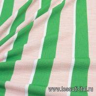 Плательная стрейч (н) розово-зелено-белая полоска - итальянские ткани Тессутидея арт. 03-6609