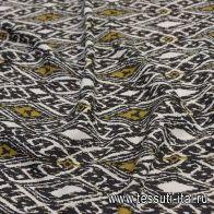 Лен (н) черно-бело-горчичный принт в стиле Pinko - итальянские ткани Тессутидея