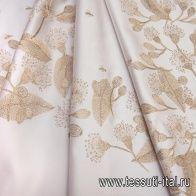 Плательная дюшес с люрексом (н) золотая вышивка на светло-розовом - итальянские ткани Тессутидея