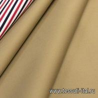 Хлопок для тренча (н) бежевый/красно-сине-белая полоска - итальянские ткани Тессутидея