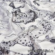 Шелк жаккард (н) стилизованные лошади на белом - итальянские ткани Тессутидея арт. 10-2065