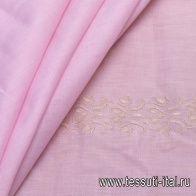 Хлопок (н) бежевая вышивка на розовом - итальянские ткани Тессутидея