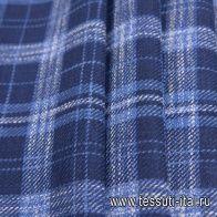 Костюмная (н) сине-бело-голубая меланжевая клетка Loro Piana - итальянские ткани Тессутидея арт. 05-3978
