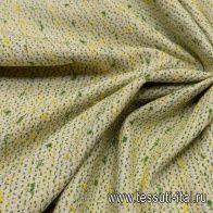 Шанель (н) желто-зеленые вкрапления на айвори - итальянские ткани Тессутидея