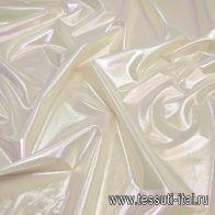 Крепдешин с галографическим напылением (о) молочный - итальянские ткани Тессутидея