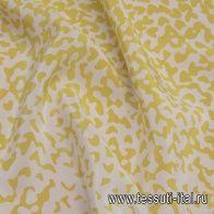 Крепдешин (н) горчичный принт деграде на белом - итальянские ткани Тессутидея арт. 10-2194