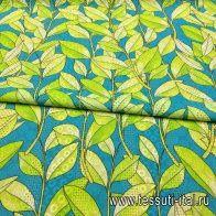 Шитье (н) вышивка на желто-голубом орнаменте - итальянские ткани Тессутидея