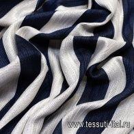 Шанель с люрексом (н) сине-бело-серебрянная полоска - итальянские ткани Тессутидея