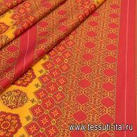 Хлопок купон (0,44м) (н) красно-желтый орнамент в стиле Versace - итальянские ткани Тессутидея
