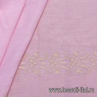Батист (о) бежевая вышивка на розовом - итальянские ткани Тессутидея