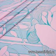Хлопок (н) бирюзовый принт на розовом - итальянские ткани Тессутидея
