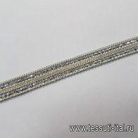 Термо тесьма с цепью и стразами ш-1см - итальянские ткани Тессутидея
