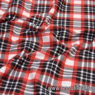 Джерси хлопок (н) красно-бело-черная клетка в стиле Burberry - итальянские ткани Тессутидея арт. 12-1017