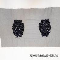 Аппликация из камней и бисера на черной сетке - итальянские ткани Тессутидея