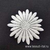Декоративный белый цветок d-8см в стиле D&G - итальянские ткани Тессутидея