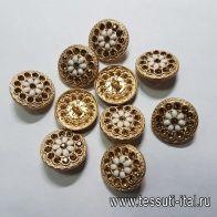 Пуговица на ножке металл золото со стразами и белыми камнями d-22мм  - итальянские ткани Тессутидея арт. F-5157