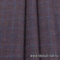 Костюмная (н) коричнево-синяя меланжевая клетка Loro Piana - итальянские ткани Тессутидея