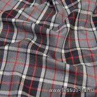 Костюмная шотландка (н) серо-красная клетка - итальянские ткани Тессутидея арт. 05-4043
