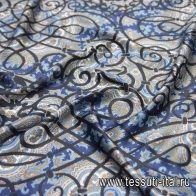 Шелк атлас (н) голубой восточный орнамент на синем в стиле Ungaro - итальянские ткани Тессутидея арт. 10-2015