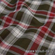 Лен (н) серо-красно-зеленая клетка в стиле Max Mara - итальянские ткани Тессутидея