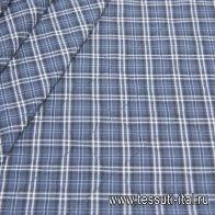 Стежка шотландка (н) сине-белая клетка - итальянские ткани Тессутидея арт. 11-0420